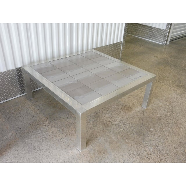 Modern Large 1970's Pierre Cardin Mod Tile Top Aluminum Coffee Table For Sale - Image 3 of 8