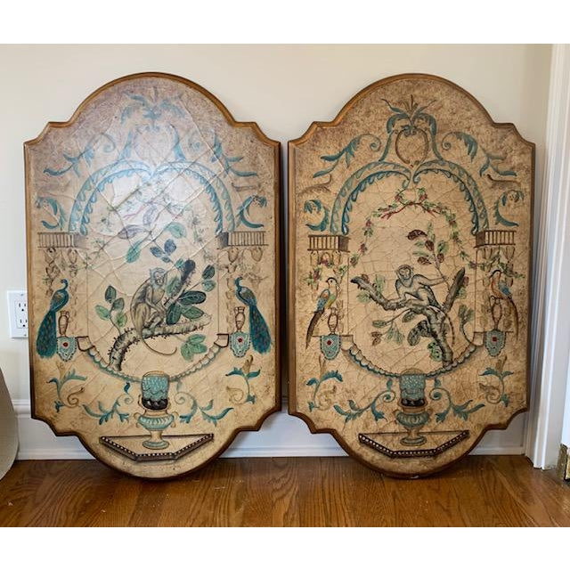 Chinoiserie Hand Painted Wood Plaques With Monkeys Birds A
