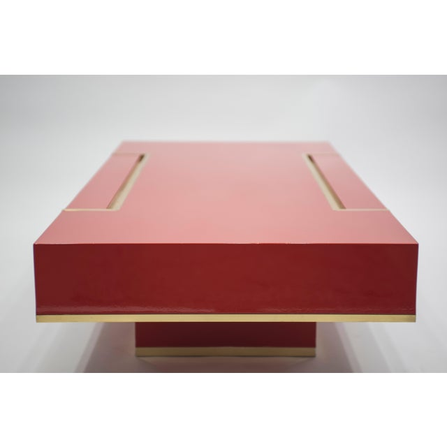 Jean Claude Mahey Rare j.c. Mahey Red Lacquer and Brass Coffee Table, 1970s For Sale - Image 4 of 13