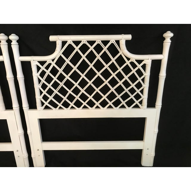 Asian 1970s Ficks Reed Twin or King Faux Bamboo Hollywood Regency Pagoda Headboards - a Pair For Sale - Image 3 of 13