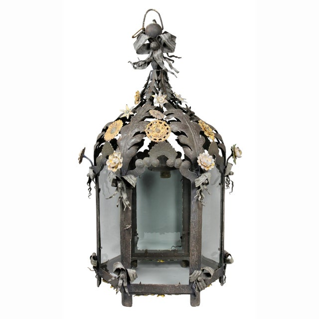 Italian Painted Tole Hanging Lantern For Sale - Image 12 of 12
