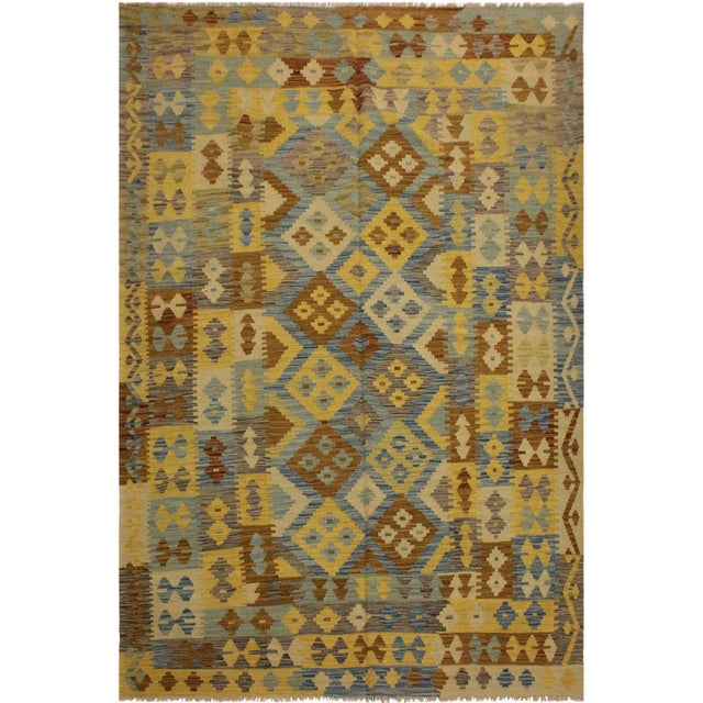 Beige Rustic Southwestern Dustin Gray/Blue Hand-Woven Kilim Wool Rug -5'11 X 8'2 For Sale - Image 8 of 8
