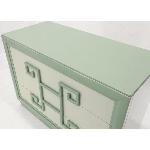 Teal Kittinger Mandarin Style Bachelor Chest Dresser Blue and White Lacquer For Sale - Image 8 of 12