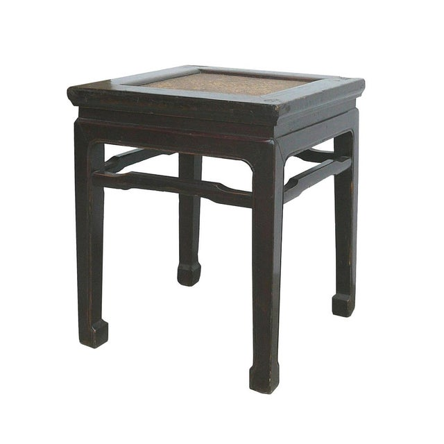 This table is a traditional Chinese style side table / ottoman with rattan top and slim claw shape legs. Dimensions:...