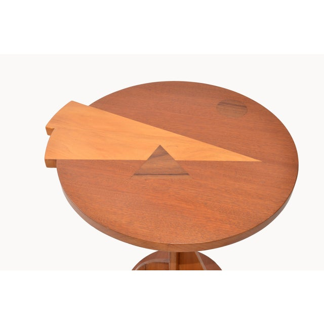 Mid-Century Modern Mid-Century Modern Round Mahogany Wood Marquetry Side / Cocktail Table Italy For Sale - Image 3 of 13