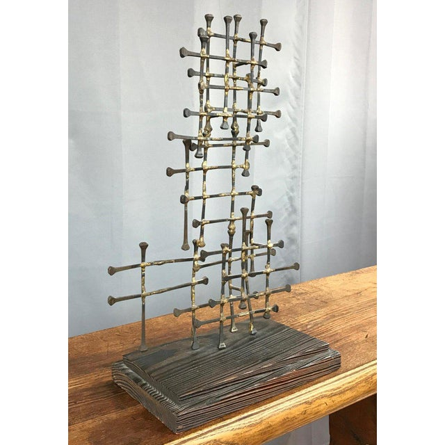Metal Midcentury Large Brutalist Abstract Nail Art Sculpture For Sale - Image 7 of 12