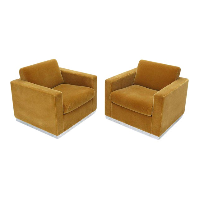 Pair of Mohair Club Chairs Ward Bennett for Brickel For Sale