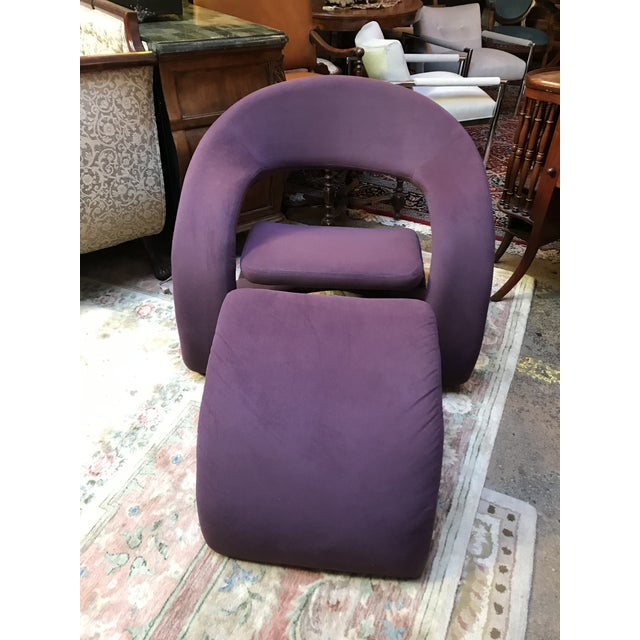 Mid-Century Modern Mid Century Modern Jaymar Memphis Sculptural Cantilever Lounge and Ottoman in Purple Fabric For Sale - Image 3 of 13