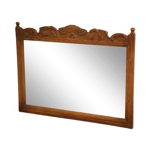 Feudal Oak Jamestown Lounge Carved Frame Mirror For Sale