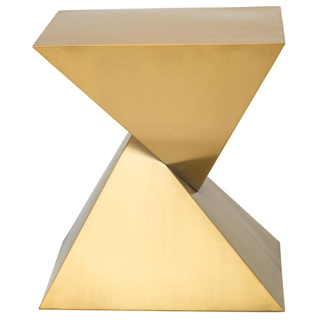 Metal Giza Steel Side Table In Gold For Sale - Image 7 of 8