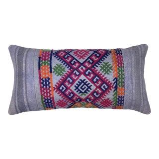 "Vivid Vintage Kilim Lumbar Pillow | 12"" X 24"" For Sale"