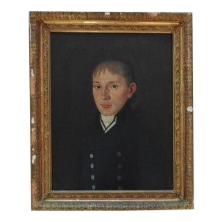 1 of 2 19th C. Portrait Paintings Man Gentleman Husband Oil on Canvas Antique British Naval Officer For Sale