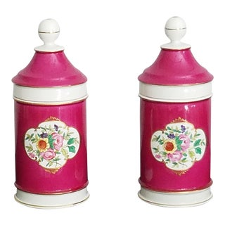Vintage Portuguese Porcelain Apothecary Jars –in Fuchsia For Sale