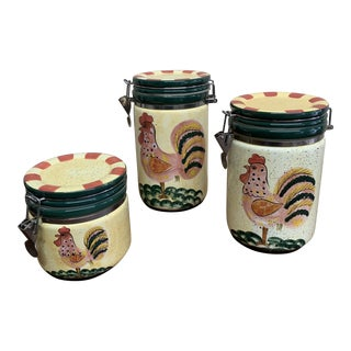 Rooster Ceramic Canisters - Set of 3 For Sale