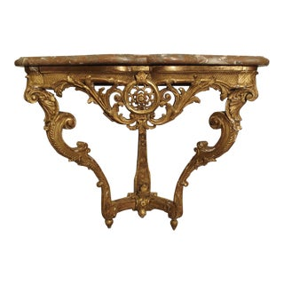 Beautiful Period Louis XIV Giltwood Console with Original Marble, Circa 1705 For Sale