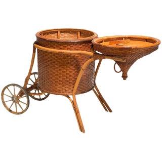 1937 Hawaiian Woven Cane & Rattan Bar Cart