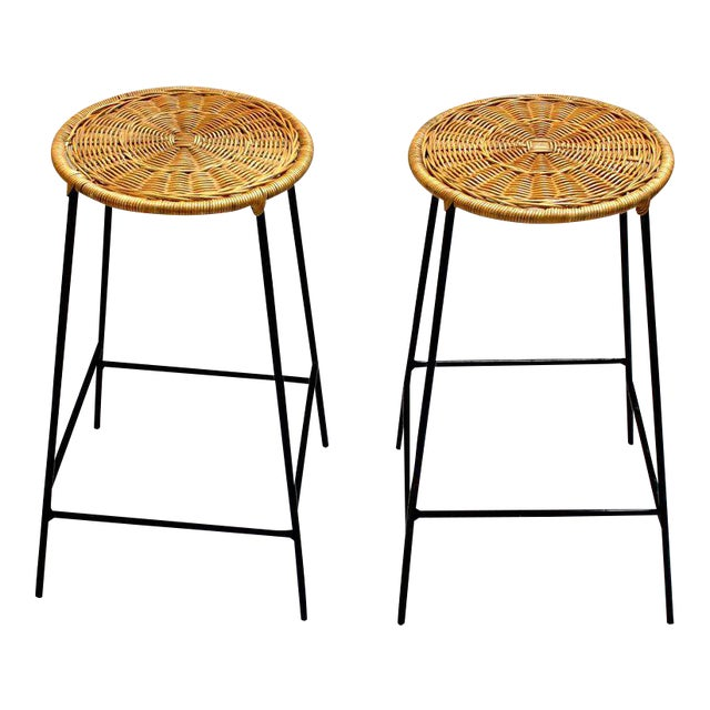 Wicker & Metal Bar Stools, Arthur Umanoff Style - A Pair For Sale