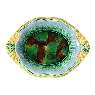 Antique English Majolica Serving Dish For Sale
