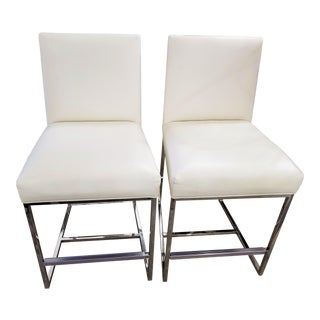 Set of 2 Mitchell Gold + Bob Williams Cream Leather Counter Stools For Sale