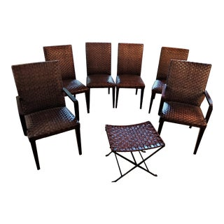 Dark Brown Leather Strap High Back Dining Chairs & Ottoman - Set of 7