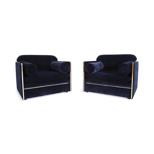 Italian Glam Armchairs in Dark Blue Velvet & Brass For Sale - Image 10 of 10