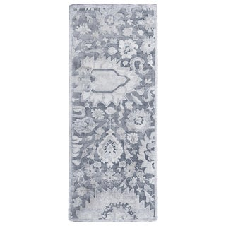 Contemporary Silver Gray Wool and Silk Rug- 2′8″ × 6′6″ For Sale