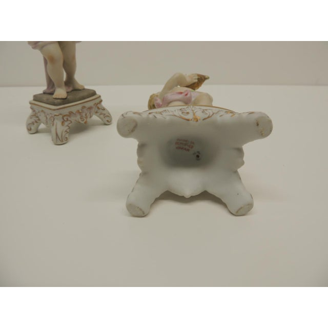 Pair of Vintage Japanese Exports Bisque Porcelain Cherubs. For Sale - Image 4 of 5