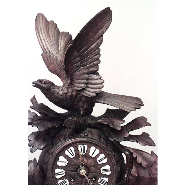 Rustic Rustic Black Forest 19th Century Carved Walnut Mantel Clock For Sale - Image 3 of 7