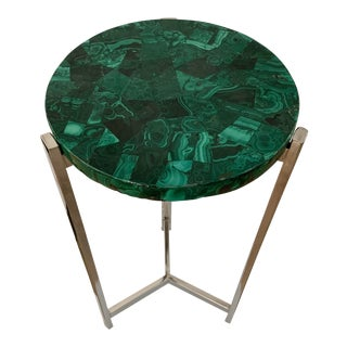 1990s Malachite and Chrome Drink Table For Sale