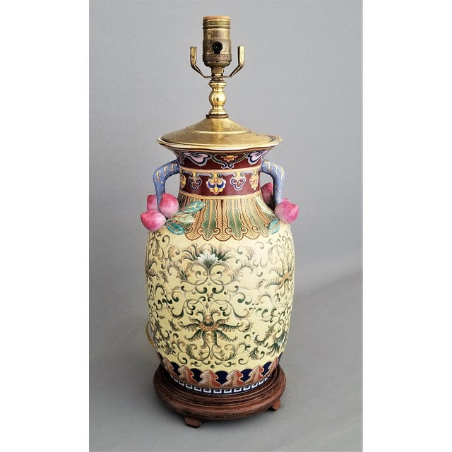 1960s Vintage Famille Rose Floral Chinese Table Lamp With Peaches For Sale - Image 12 of 12