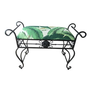 Vintage Black Wrought Iron & Banana Leaf Linen Bench For Sale