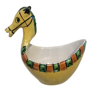 1960s Mid-Century Modern Bitossi Hand-Painted Ceramic Horse Bowl For Sale