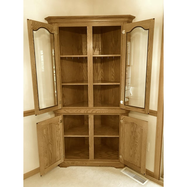 Traditional Solid Oak Corner Display Cabinet For Sale - Image 3 of 12