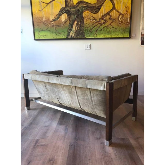 Mid-Century Modern 1970s Jack Cartwright Sling Loveseat in Original Suede Upholstery For Sale - Image 3 of 10