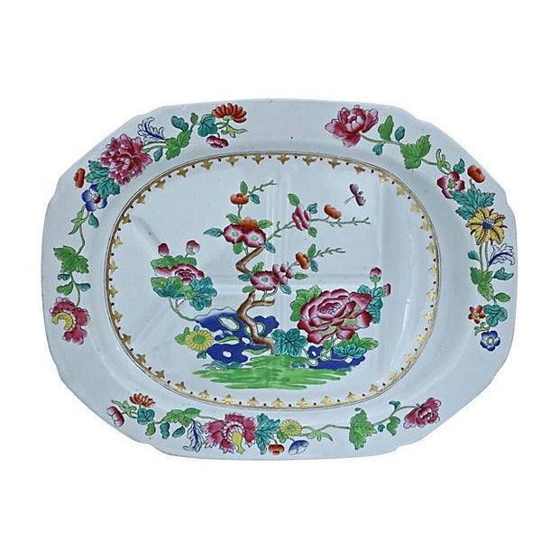 Ceramic Spode Indian Tree Meat Draining Platter For Sale - Image 7 of 7