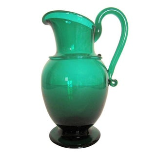 Emerald Green Art Glass Urn Pitcher Vase