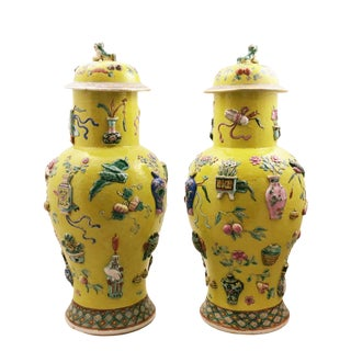 Chinese Large Imperial Yellow 100 Antiquities Baluster Vases With Lids - a Pair For Sale