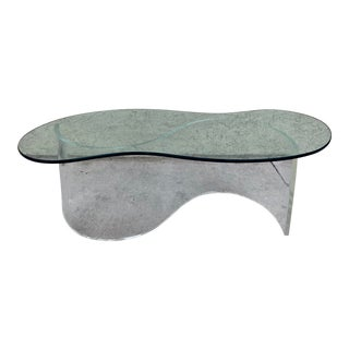 Attributed to Vladimir Kagan Biomorphic Curved Coffee Table Lucite and Glass For Sale