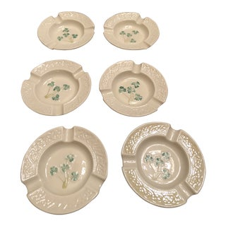 Belleek Shamrock Ashtrays - Set of 6 For Sale