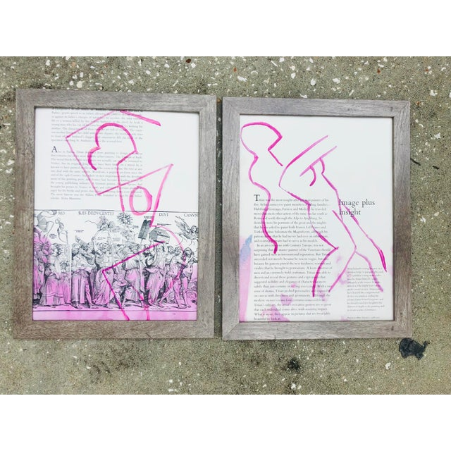 Pair of pink abstract paintings on the pages of vintage art books by Virginia Chamlee. Signed and dated, 2020. Dye,...