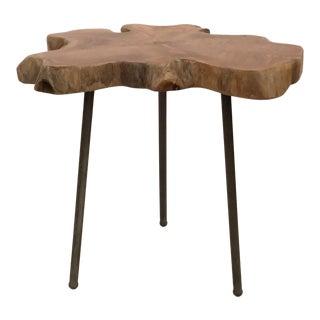 Industrial Modern Teak Slab Slice Side Table For Sale