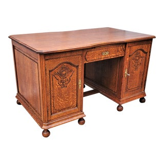 Country French Carved Solid Tiger Oak Flat Top Pedestal Desk For Sale