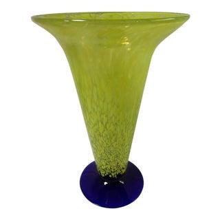 Hand Blown Art Glass Vase For Sale