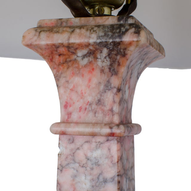 Marble Marble Column Lamps - a Pair For Sale - Image 7 of 11