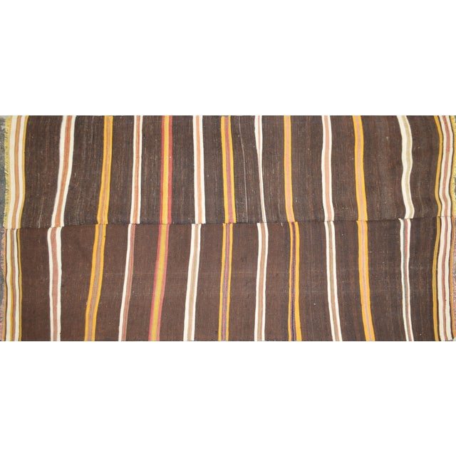 "Vintage Turkish Anatolian Hand Made Organic Wool Tribal Kilim,3'5""x6'6"" For Sale - Image 4 of 4"
