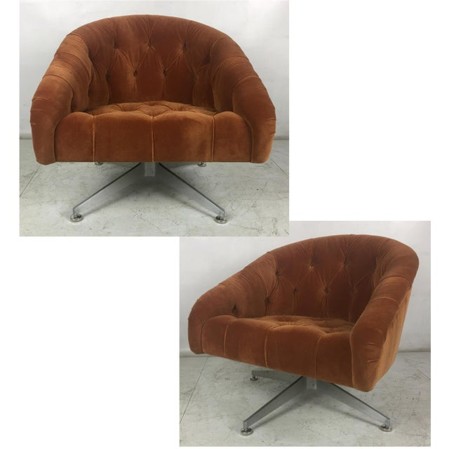 Gold Tufted Swivel Chairs by Ward Bennet for Lehigh Leopold - a Pair For Sale - Image 8 of 8