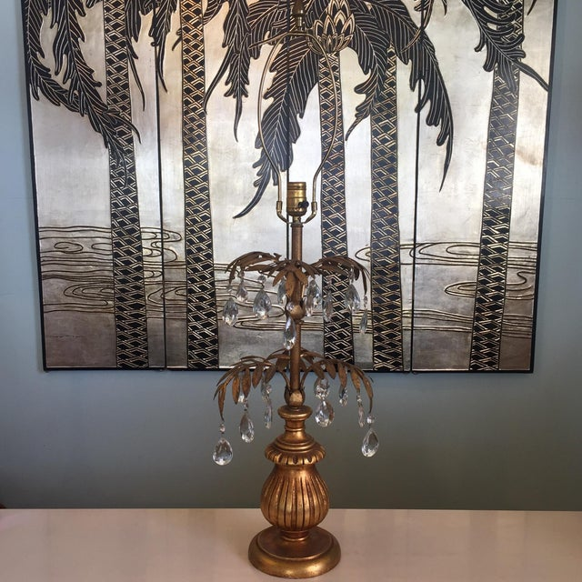 Hollywood Regency Gilded Palm Lamp With Crystals For Sale - Image 9 of 11