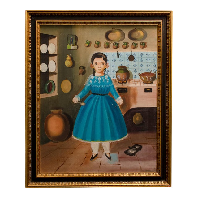 1950 'Girl in Kitchen' Painting by Lilia Carrillo For Sale