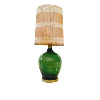 Mid-Century Demijohn Emerald Green Lamp For Sale
