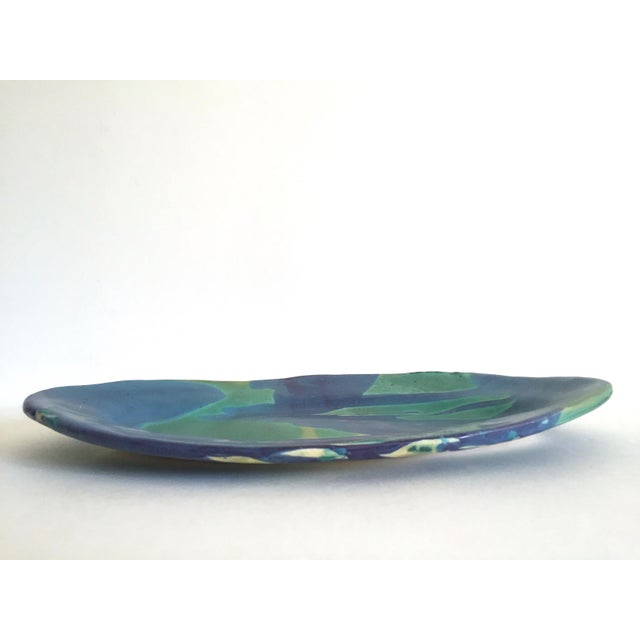Cerulean Vintage 1990's Contemporary Organic Modernist Abstract Expressionist Studio Pottery Oval Serving Platter For Sale - Image 8 of 13